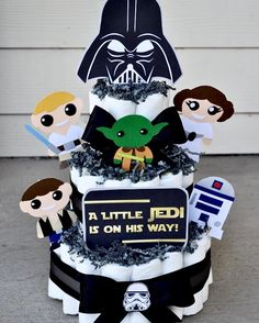 """Star Wars themed Diaper Cake from """"Mums to Be"""". Such a cute way to do a difficult theme!"""