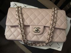 236df411404c 13C Baby pink lambskin medium flap with light gold hardware 13C  A01112Y04059 11408
