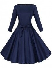 Lots of adorable dresses, for reasonable prices. Bowknot Belt Charming Round Neck Plain Skater-dress