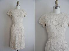 50s Wild Oats dress/ vintage floral cut out wiggle dress/ nude floral wiggle dress