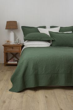 Elegant and timeless, the cotton Antipodes Bedspread features an exquisitely stitched green leaf pattern in a 'statement' sage colour tone that Uni Bedroom, Bedroom Wall Colors, Budget Bedroom, Master Bedroom Design, Bedroom Inspo, Bedroom Decor, Earthy Bedroom, Bedroom Ideas, Duck Egg Blue Bedroom
