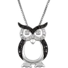 Jewel Exclusive Sterling Silver  Black and White Diamond Owl Pendant (41 CAD) ❤ liked on Polyvore featuring jewelry, pendants, multi, black and white pendant, charm pendant, diamond owl pendant, holiday jewelry and sterling silver charms pendants