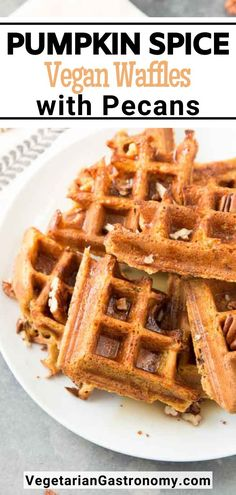 Skip the crowded Brunch lines and make these fun and easy Pumpkin Spice Vegan Waffles with pecans at home! And don't forget to make extra, because this Fall-inspired breakfast doubles up for the perfect FREEZER WAFFLES! Pumpkin Spice Pecans, Spiced Pecans, Vegan Pumpkin, Pumpkin Recipes, Fall Recipes, Pumpkin Pasta, Pumpkin Soup, Vegan Brunch Recipes, Waffle Recipes