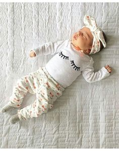 MINSINHO 3Pcs Eyelash Cute Newborn Toddler Baby Girl Clothes Sets Top Pants Headband 1824 Months ** Click image to assess even more information. (This is an affiliate link). #babygirlclothing