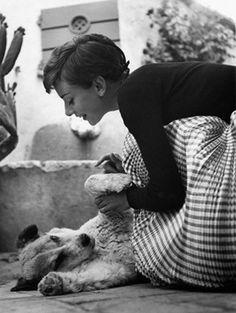Audrey Hepburn with dog