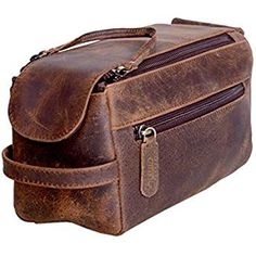 133aeceeb7 KOMALC Genuine Buffalo Leather Unisex Toiletry Bag Travel Dopp Kit