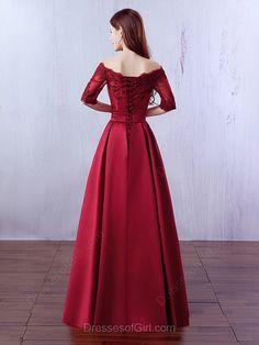 A-line Off-the-shoulder Satin Floor-length Appliques Lace Burgundy Prom Dresses