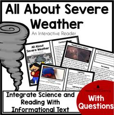 All About Severe Weather Informational Text Reader | TpT Science Topics, Science Books, Science Experiments Kids, Teaching Science, Teaching Resources, Weather Activities For Kids, Elementary Science, Severe Weather, Reading