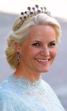 Crown Princess Mette-Marit, wife of Crown Prince Haakon, wearing the Amethyst Necklace Tiara, Norway (20th c.; amethysts, diamonds, gold, silver).