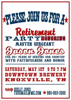 Red, White and Blue Military Retirement Party Invitation. $15.00, via Etsy.