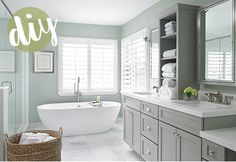 Nice color way for the spa: pale willow green (or sage), rustic wood (tub cradle), wicker basket, white towels.