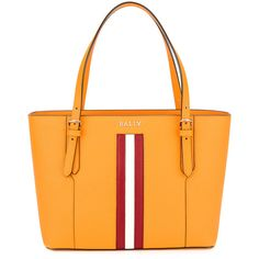 Bally striped trim tote bag ($580) ❤ liked on Polyvore featuring bags, handbags, tote bags, orange, bally tote, tote hand bags, tote bag purse, handbag tote and bally purse