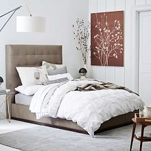 Tall Grid-Tufted + Plinth Bed