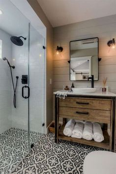 80 guest bathroom makeover decor ideas for a . - 80 guest bathroom makeover decor ideas for a budget - Modern Farmhouse Bathroom, Farmhouse Vanity, Rustic Vanity, Modern Bathrooms, Wood Vanity, Best Bathrooms, Beautiful Bathrooms, Craftsman Bathroom, Luxury Bathrooms