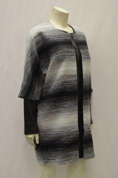 NWT Parker Black/White Textured Stripe Cocoon Coat Leather Detail sz S  #Parker #fashioncoat
