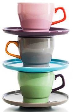 POP Coffee Cups And Saucers by Sagaform tazas de cafe de colores Coffee Cups And Saucers, Cup And Saucer, Tea Cups, Ceramic Tableware, Kitchenware, Mug Cup, A Table, Tea Party, Coffee Mugs