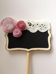 pink & place paper flower mini chalkboard, wedding table number, dessert marker, label, etc.