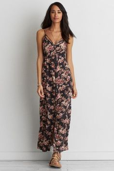 American Eagle Outfitters AE Button Up Lace-Up Maxi Dress