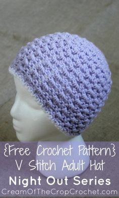 Cream of the Crop Crochet~ V-stitch Adult Hat pattern from the Night Out series {free #crochet pattern} #handmade
