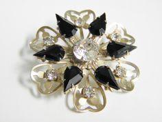 Brooch Vintage Black Rhinestone Flower 60s by GrandVintageFinery, $14.95