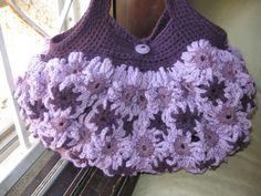 Crochet flower Purse Dark and Med Purples by MeladorasCreations, $50.00