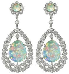 Estate Opal 2.64ct Diamond Dangling Earrings