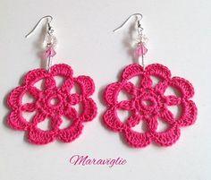 Crochet Earrings Orecchini Uncinetto 100% Cotton by Maraviglie