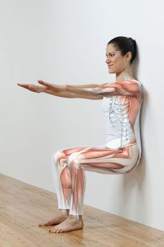 The wall sit exercise is a quad burner. It is generally used for building isometric strength and endurance in the quadriceps, glutes, and calves. Home Exercise Routines, Ab Workout At Home, At Home Workouts, Fitness Workouts, Training Workouts, Ab Workouts, Wall Sits Benefits, Wall Sit Exercise, Wall Workout