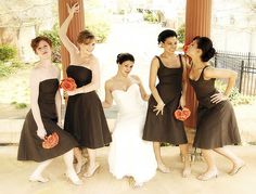 brown bridesmaids dresses