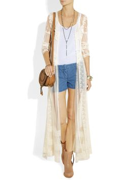 Haute Hippie|Embroidered mesh and lace coat dress|NET-A-PORTER.COM