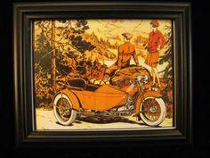 Art Poster: #FreeShipping Harley-Davidson Framed Art Deco Poster 1920'S Bike & Sidecar 11 X 13 X 1 Fsh