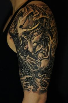 Realistic Grey Ink Hannya Tattoo On Left Half Sleeve Creative Tattoos, Great Tattoos, Beautiful Tattoos, Body Art Tattoos, Tattoos For Guys, Sleeve Tattoos, Tatoos, Hanya Tattoo, Tattoo On