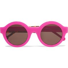 Preen by Thornton Bregazzi Big Ben neon round-frame acetate sunglasses (€81) ❤ liked on Polyvore featuring accessories, eyewear, sunglasses, magenta, round lens sunglasses, preen sunglasses, neon glasses, tortoise glasses and uv protection sunglasses
