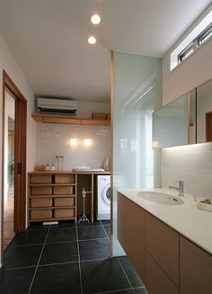 Home Office Design, Home Interior Design, House Design, House Inside, Laundry In Bathroom, Japanese House, Home And Deco, Minimalist Home, Ideal Home