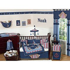 @Overstock - This nautical themed nine piece baby bedding set was created by JoJo Designs. This set includes a blanket, crib bumper, crib skirt, fitted sheet, toy bag, decorative throw pillow, diaper stacker, and two window valances.http://www.overstock.com/Baby/Nautical-9-piece-Crib-Bedding-Set/5298471/product.html?CID=214117 $179.99