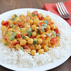 Chickpeas in a creamy curry sauce and served over rice. Quick, easy and absolutely delicious!