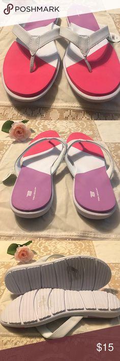 TEK GEAR WHITE FLIP FLOPS Lightweight design for lasting comfort and flexibility waffle footbed for added support tek gear Shoes Sandals