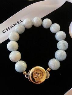 "Chanel Button Bracelet ""Aquamarine"" Designsbyz      zumphlette@aol. com"