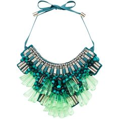 Matthew Williamson Opulent Necklace in Teal ($289) ❤ liked on Polyvore featuring jewelry, necklaces, accessories, jewels, teal, beaded pendant necklace, pendant jewelry, beading jewelry, pendants & necklaces and bead pendant