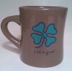 Life Is Good Coffee Mug Shamrock Lucky St Patricks Day Diner Cup Brown Green