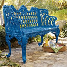 Blue Bench - Horchow from Horchow. Saved to For the Love of the Sun. Shop more products from Horchow on Wanelo. Painting Patio Furniture, Metal Patio Furniture, Iron Furniture, Painted Furniture, Refinished Furniture, Steel Furniture, Blue Garden Furniture, Rooms Furniture, Wrought Iron Bench