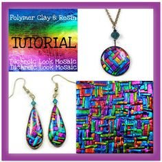Tutorial Polymer clay- Dichroic Look Mosaic Tutorial- Pendant & Earring Tutorial- Jewelry Making Tutorial