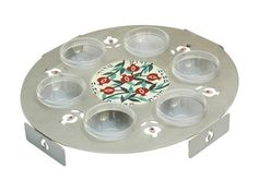 Carmel Gifts - Passover Seder Plate - Stainless Steel - Colorful Pomegranates , $121.00 (http://www.carmelgiftshop.com/passover-pessach/seder-plates/passover-seder-plate-stainless-steel-colorful-pomegranates/)