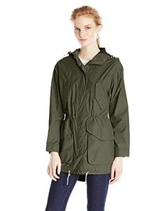 Cole Haan Women's Boyfriend Anorak with Hood, Ivy, Small