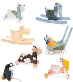 tede Family GmbH - Ökologisches Holzspielzeug mit Schaukeltier, Rutschtier und Ziehtier