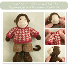 This pattern is written in English only. This listing is for an extensive PDF file which contains full instructions for knitting and finishing off a little boy monkey with a patterned sweater and shorts. Once paid for it is available for you to instantly download. The finished monkey is approx...