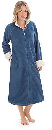 Womens Zip Front Plush Knit Robe Plus Size Navy XXLarge *** Want to know more, click on the image.