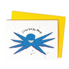 New to anopensketchbook on Etsy: Love Note Octopus Valentine Love Greeting Card I Love You This Much (4.50 USD)