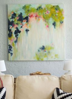 That Big Painting - She painted her own abstract art on canvas. @Alisia Mullikin Benavides - do you think you'd be able to help me make my own? :)