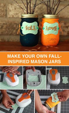 Decorate mason jars for the fall season to add a rustic touch to your home. All you need are tag punches, twine and colorful paint to complete this DIY project. You'll be ready to decorate in five simple steps.